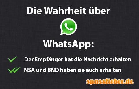 Die Wahrheit über WhatsApp: Ein Haken: Der Empfänger hat die Nachricht erhalten Zwei Haken: NSA und BND haben sie auch erhalten
