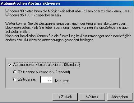 Ein Screenshot, der anbietet, für Windows 98 einen automatischen Absturz einzurichten, damit Windows 98 kompatibel zu Windows 95 ist...