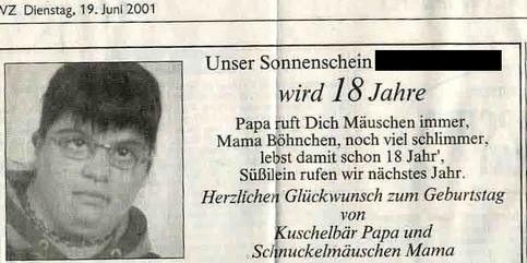 Eine ziemlich lustige Anzeige in einer Zeitung zum 18. Geburtstag.
