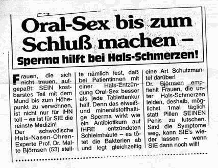 Ein Zeitungsartikel, der berichtet, dass Sperma gegen Hals-Schmerzen hilft.